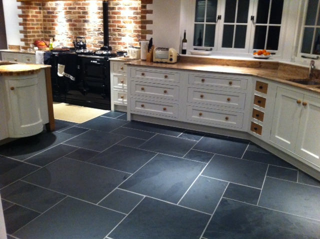 contemporary slate floor kitchen option for design decorating